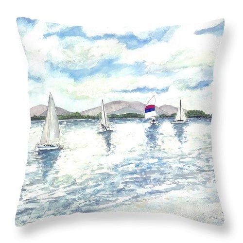 Sailboats Throw Pillow featuring the painting Sailboats by Derek Mccrea