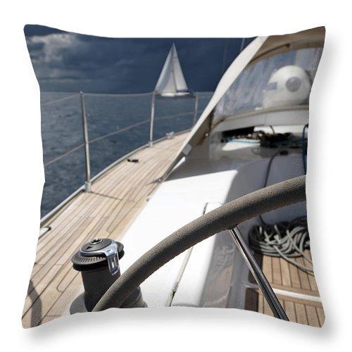 Adriatic Sea Throw Pillow featuring the photograph Sailboats In Mediterranean Sea by Vuk8691