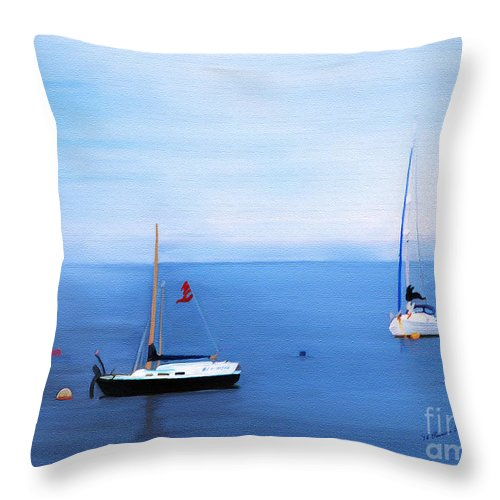 Fine Art Throw Pillow featuring the mixed media Sailboats in Skerries Harbor- mixed media photography by Patricia Griffin Brett