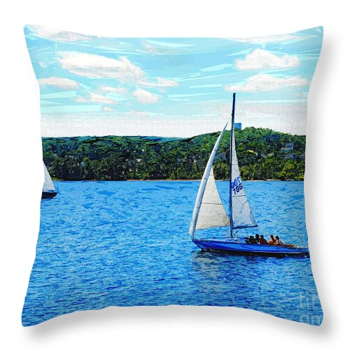 Sailing Throw Pillow featuring the digital art Sailboats In The Summer by Phil Perkins