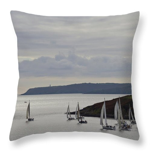 Sailboat Throw Pillow featuring the photograph Sailboats Race Out Of Kinsale Harbour by Eric Sturdivant