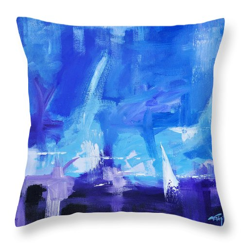 Abstract Throw Pillow featuring the painting Sailing Away by Craig Burgwardt