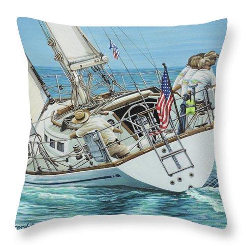 Ocean Throw Pillow featuring the painting Sailing Away by Jane Girardot