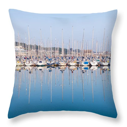 Anchorage Throw Pillow featuring the photograph Sailing Boats In The Howth Marina by Semmick Photo