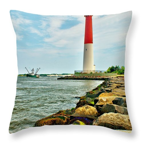 Architecture Throw Pillow featuring the photograph Sailing By Barnegat Light by Nick Zelinsky