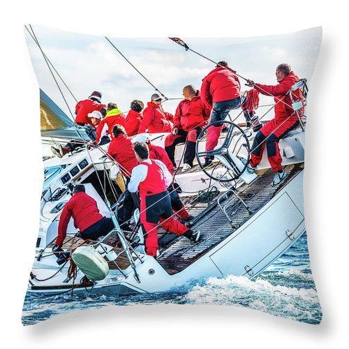 Adriatic Sea Throw Pillow featuring the photograph Sailing Crew On Sailboat During Regatta by Mbbirdy