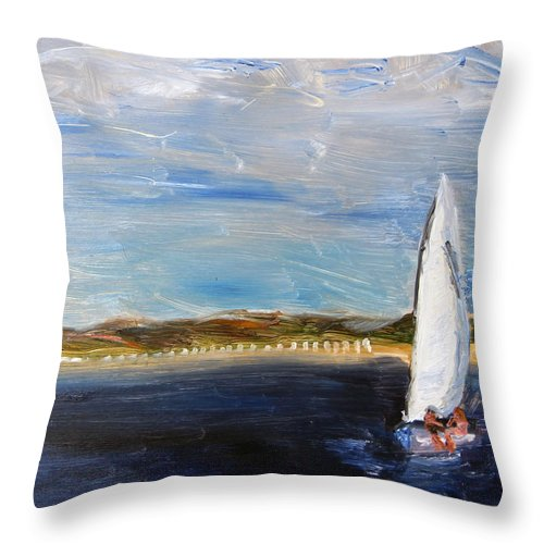 Cape Cod Throw Pillow featuring the painting Sailing Provincetown Waters by Michael Helfen