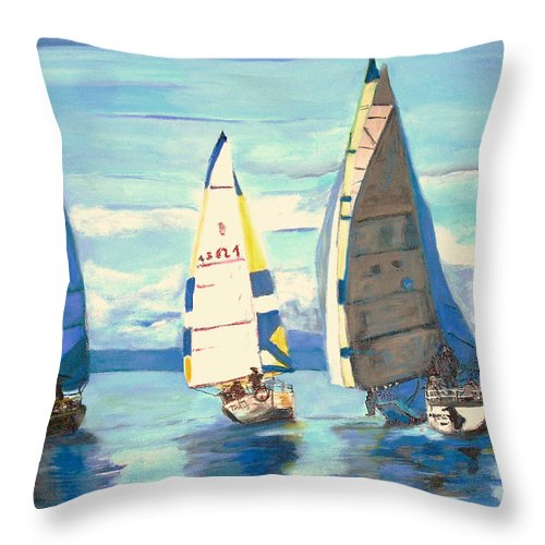 Seascape Throw Pillow featuring the painting Sailing Regatta At Port Hardy by Teresa Dominici