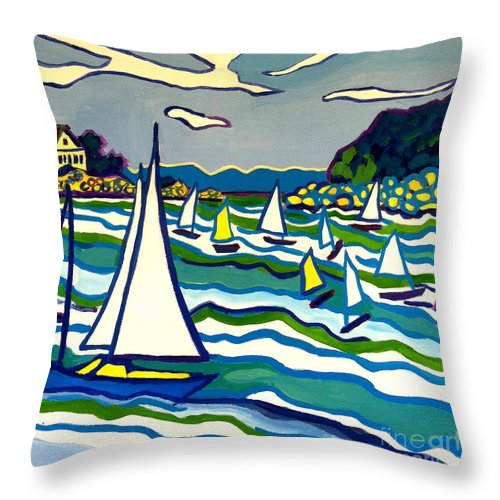 Landscape Throw Pillow featuring the painting Sailing School Manchester By-the-sea by Debra Bretton Robinson
