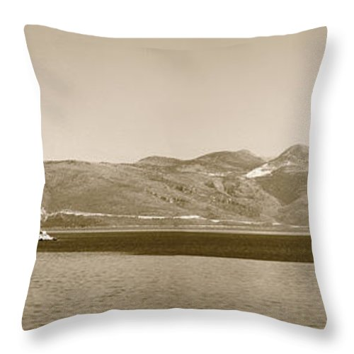 Croatia Throw Pillow featuring the photograph Sailing Ship In The Adriatic Islands In Sepia by Weston Westmoreland
