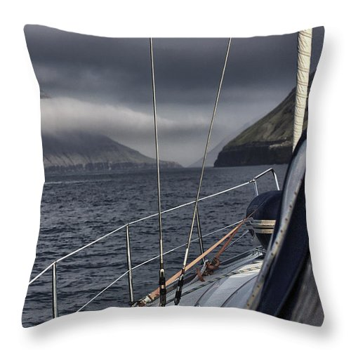 Sailboat Throw Pillow featuring the photograph Sailing The Leirviksfjordur by Sindre Ellingsen