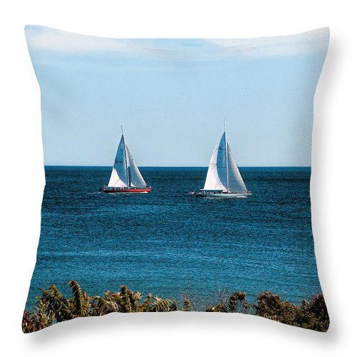 Ocean Scene Throw Pillow featuring the photograph Sailing Watch Hill Ri by Tom Prendergast