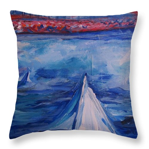 San Francisco Throw Pillow featuring the painting Sailing Under The Golden Gate by Eric Schiabor