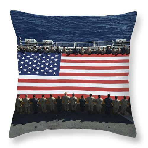 Horizontal Throw Pillow featuring the photograph Sailors And Marines Display by Stocktrek Images