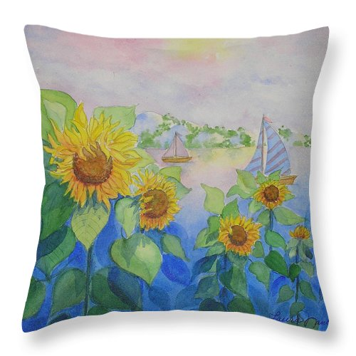 Dreamy Throw Pillow featuring the painting Sailor's Delight by Laura Nance