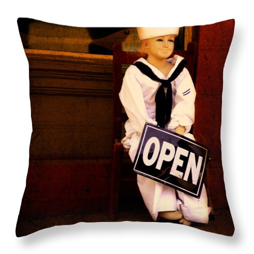 Storefront Throw Pillow featuring the photograph Sailors Welcome Cropped by Lesa Fine