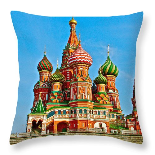 Saint Basil Cathedral In Red Square In Moscow Throw Pillow featuring the photograph Saint Basil Cathedral In Red Square In Moscow- Russia by Ruth Hager