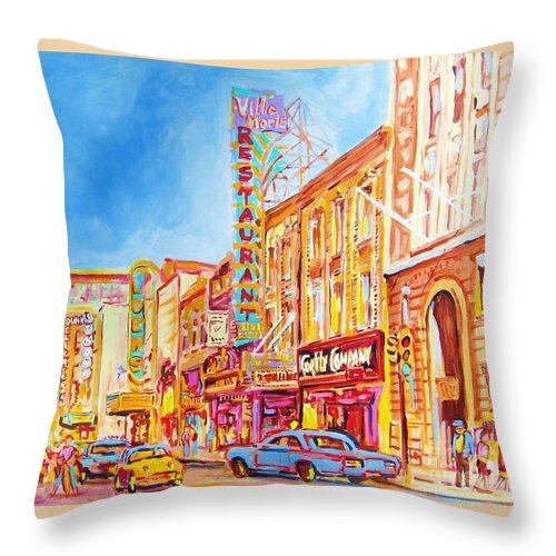 Paintings Of Montreal Throw Pillow featuring the painting Saint Catherine Street Montreal by Carole Spandau