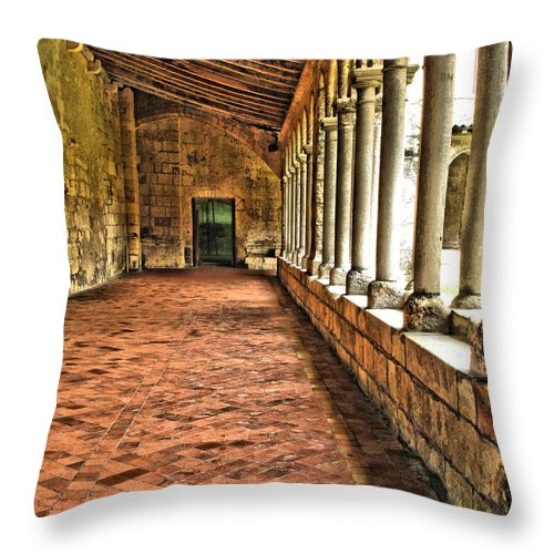 Cloisters Throw Pillow featuring the digital art Saint Emilion Cloisters by Greg Matchick