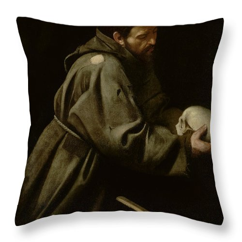 Monk Throw Pillow featuring the painting Saint Francis In Meditation by Michelangelo Merisi da Caravaggio