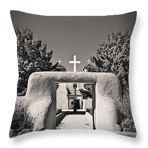 Saint Throw Pillow featuring the photograph Saint Francis In Sepia Gold by Charles Muhle