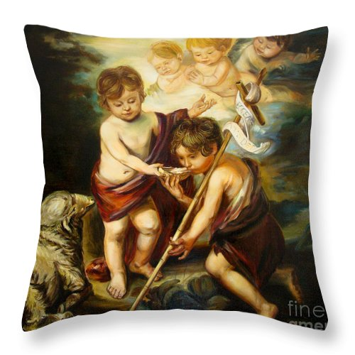 Classic Art Throw Pillow featuring the painting Saint John Baptist by Silvana Abel