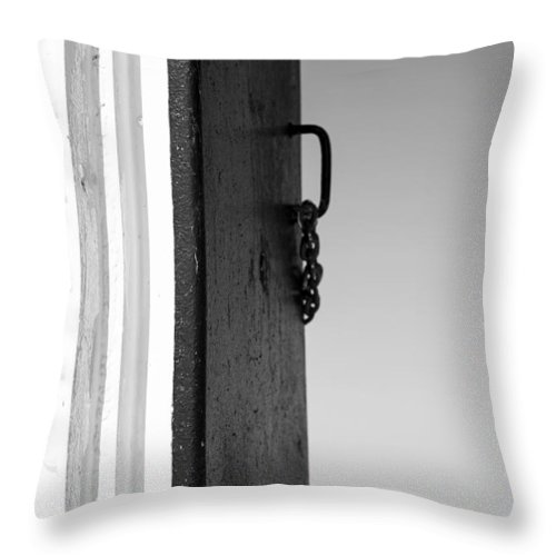 Vertical Throw Pillow featuring the photograph Saint Joseph Michigan Outer Lighthouse Door Black And White by Sally Rockefeller