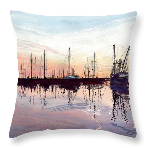 Fiery Sunset Throw Pillow featuring the painting Saint Marys Marina  Shadows Light And Fire by Joel Deutsch