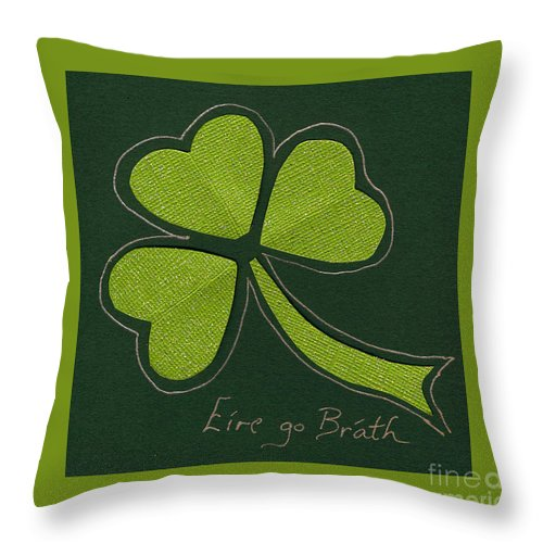 Shamrocks Throw Pillow featuring the mixed media Saint Patricks Day Collage Number 11 by Ellen Miffitt