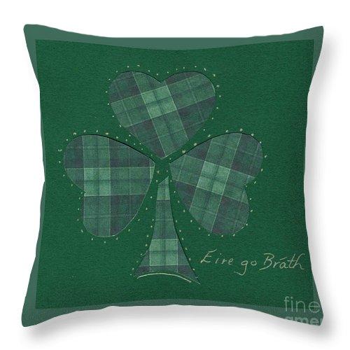 Shamrocks Throw Pillow featuring the mixed media Saint Patricks Day Collage Number 12 by Ellen Miffitt