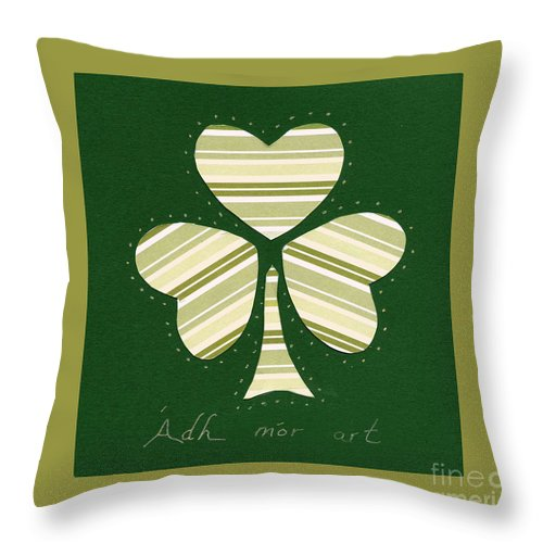 Shamrocks Throw Pillow featuring the mixed media Saint Patricks Day Collage Number 14 by Ellen Miffitt