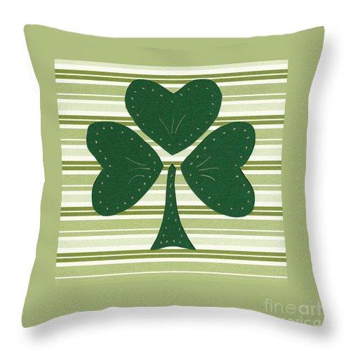 Shamrocks Throw Pillow featuring the mixed media Saint Patricks Day Collage Number 15 by Ellen Miffitt