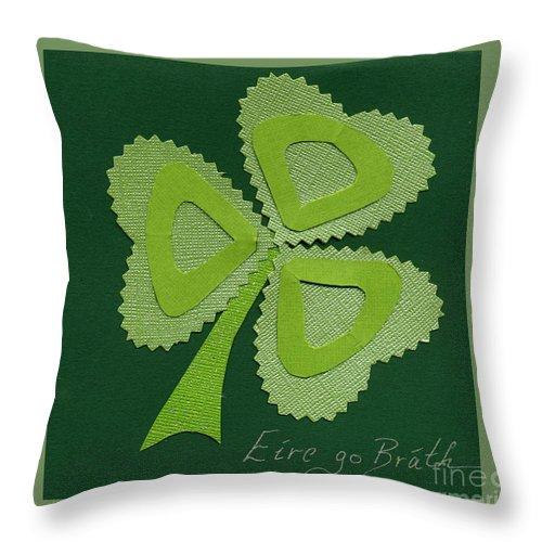 Shamrocks Throw Pillow featuring the mixed media Saint Patricks Day Collage Number 16 by Ellen Miffitt