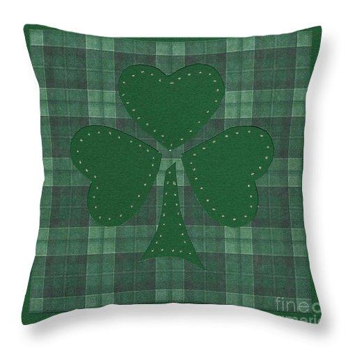 Shamrocks Throw Pillow featuring the mixed media Saint Patricks Day Collage Number 17 by Ellen Miffitt
