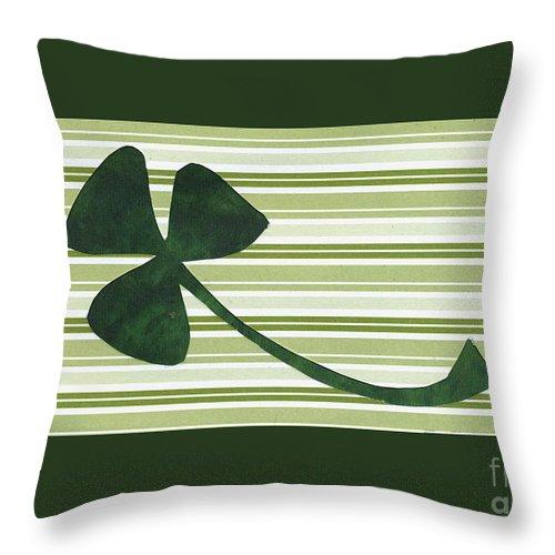 Shamrocks Throw Pillow featuring the mixed media Saint Patricks Day Collage Number 18 by Ellen Miffitt