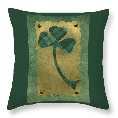 Shamrocks Throw Pillow featuring the mixed media Saint Patricks Day Collage Number 21 by Ellen Miffitt