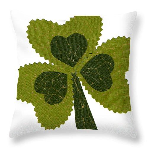 Shamrocks Throw Pillow featuring the mixed media Saint Patricks Day Collage Number 8 by Ellen Miffitt