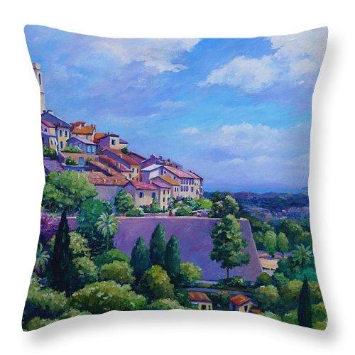 St Paul Throw Pillow featuring the painting Saint Paul De Vence by John Clark