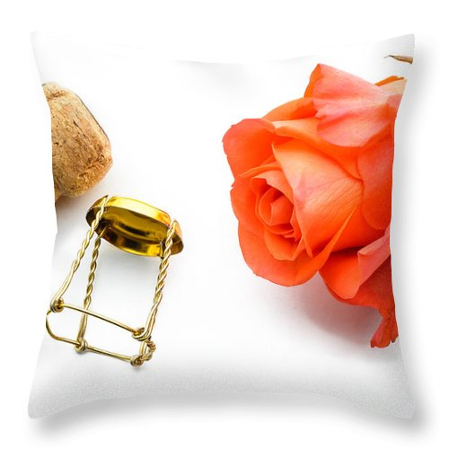 Abstract Throw Pillow featuring the photograph Saint Valentine Rose by Alain De Maximy