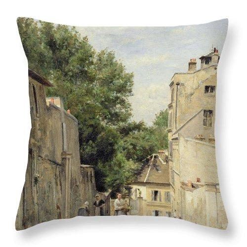 Paris Throw Pillow featuring the photograph Saint-vincent Street, Montmartre Oil On Canvas by Stanislas Victor Edouard Lepine
