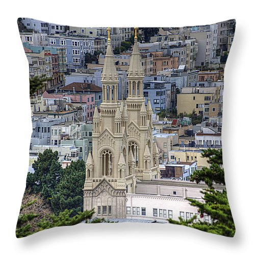 Catholic Throw Pillow featuring the photograph Saints Peter And Paul Church In San Francisco by Diego Re