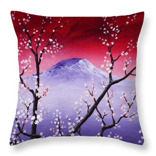 Malakhova Throw Pillow featuring the painting Sakura by Anastasiya Malakhova