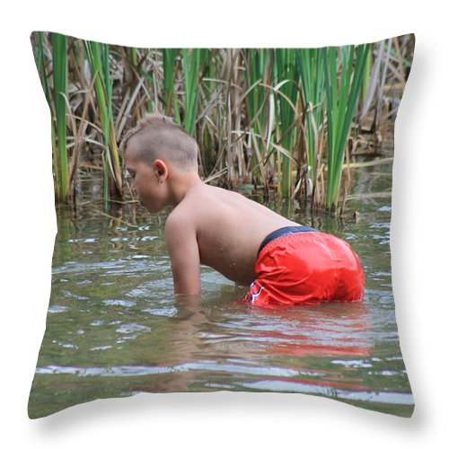 Cute Kids Throw Pillow featuring the photograph Salamander Hunt by Robin Vargo