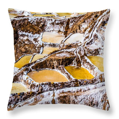 Aerial Throw Pillow featuring the photograph Salinas De Maras by Mariusz Prusaczyk