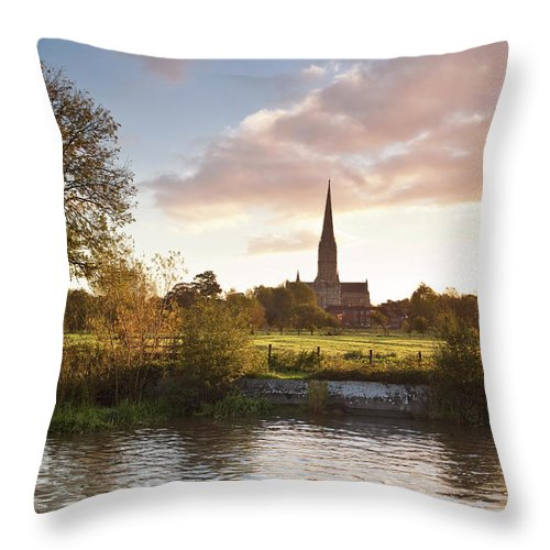 Tranquility Throw Pillow featuring the photograph Salisbury Cathedral And The River Avon by Julian Elliott Photography