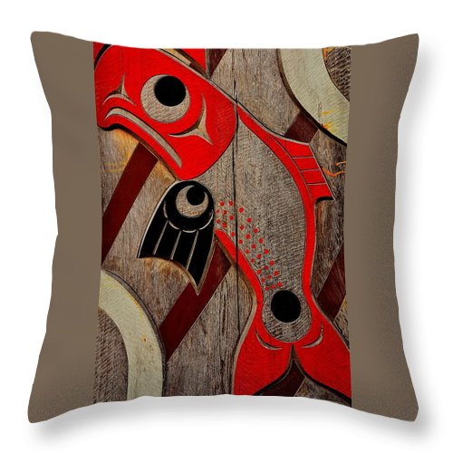 Totem Pole Throw Pillow featuring the photograph Salmon by G A Fuller Photography