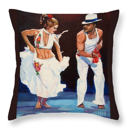 Dancing Throw Pillow featuring the painting Salsa by Jose Manuel Abraham