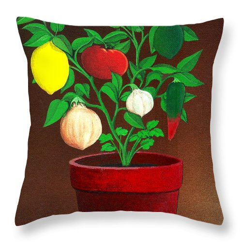 Plant Throw Pillow featuring the painting Salsa Plant by Snake Jagger