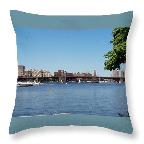 longfellow Bridge Throw Pillow featuring the photograph Salt And Pepper Bridge by Barbara McDevitt