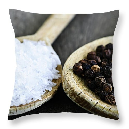 Peppercorns Throw Pillow featuring the photograph Salt And Pepper by Elena Elisseeva